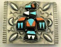 "signed HENRY SAM Navajo CONCHO BELT BUCKLE ""Thunderbird"" Sterling Silver ""NOS""!"