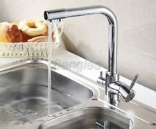 Chrome Brass 3 Way Dual Faucet Kitchen Mixer Tap Pure Water Filter Tap 8sf018