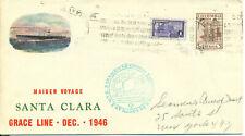Colombia 1946 ship cover maiden cargo passenger  Santa Clara company Grace Line