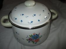 JMP Marketing provincial bouquet bleu blanc floral émail Large 4 L Casserole