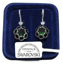 FSW Fiori pendenti Orecchini donna pl. oro bianco 18K cristalli swarovski verde