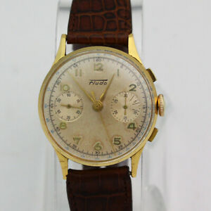 Vintage 18K Yellow Gold 33mm Fludo 17 Jewel Chronograph Manual Wristwatch