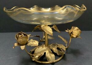 Gold Tole Roses TAZZA Gilt GLASS COMPOTE  BOWL Vintage Hollywood Regency Italy