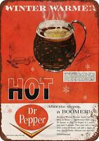 """1966 Hot Dr. Pepper and Rum Vintage Rustic Retro Metal Sign 8"""" x 12"""""""