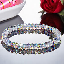 Crystal Aurora Borealis Transparent Geometric Beads Bracelet Bangle Wedding