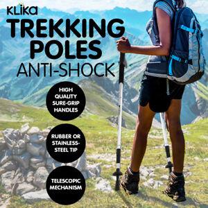 HIKING STICKS  ANTI-SHOCK WALKING TREKKING POLES ADJUSTABLE ALUMINIUM