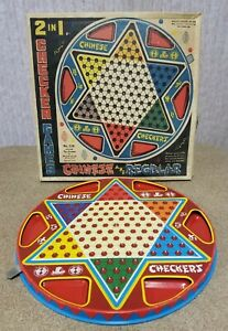 Vintage OHIO ART Co 2 in 1 Chinese Checkers Board Game #538 Reversible Metal Tin