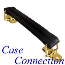 Koffergriff - schwarz / gold - Leder - nylonverstärkt # Ledergriff Riemengriff