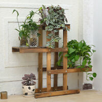 Wood Flower Rack Plant Stand 3 Tier Shelves Corner Bonsai Display Indoor Outdoor