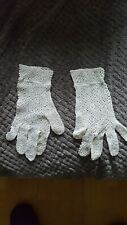 Vintage Cream Ladies Lace Gloves 1950s  Prop Set dressing wedding