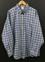 BROOKS BROTHERS Regent Men's Blue/Red Plaid Long Sleeve Non-Iron Shirt sz 2XL