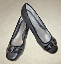 BANDOLINO Women's Black Leather Flat Ballet Comfort Slip On Shoe Size 7.5 M NEW