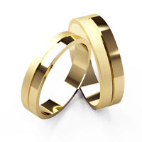Matching Wedding Rings His And Hers 9ct Yellow Gold Bands Patterned Set 4+5mm