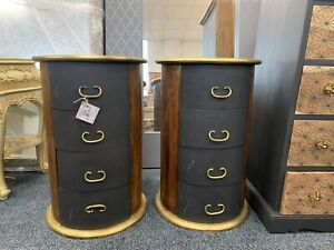 Rare Pair Of Round Bedside Tables Black And Gold
