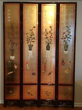 oriental furniture 9' high wooden screen gold leaves lacquer room dividers