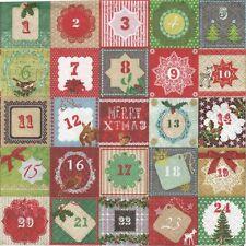 2 Serviettes en papier Calendrier de l'Avent Paper Napkins Advent 24 days