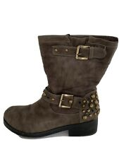 ladies Brown Studded biker Style Low boots - size 8