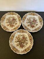 "Vintage Ridgeway Staffordshire England 3 Salad Plates ""Old English Bouquet"""