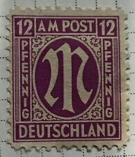 Germany stamps - Allied Military 'M' in Circle  1945 12 German reichspfennig