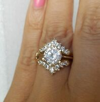 2.25 Ct Round Cut 14k Yellow Gold Over Solitaire Enhancer Wrap Engagement Ring