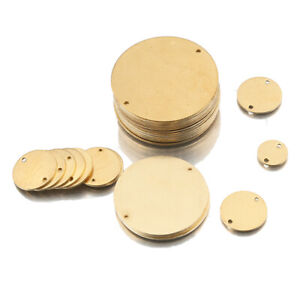Raw Brass Metal Round Stamping Blank Dog Tag 2 Holes Earring Connectors Disc Diy
