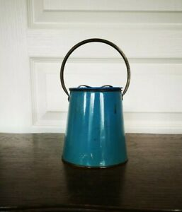 Ancien Vintage Petit Pot En Zinc Avec Anse Et Couvercle Jardin Déco