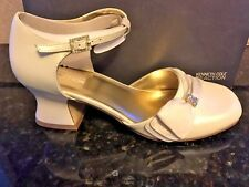 Kenneth Cole Ivory Dress Shoes Satin Rhinestone Clip Youth Girls Size 5