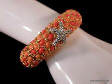Kenneth Jay Lane KJL Gold Plated Faux Coral Starfish Clamper Cuff Bracelet