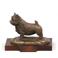 Norwich Terrier, dog bust/statue on wooden base, UK