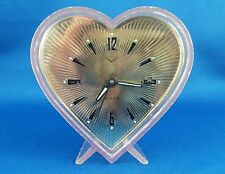Vintage Alarm Clock, Pale Pink See Trought Heart Shaped Fisher Germany