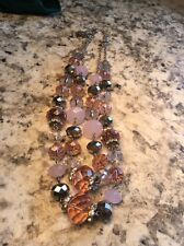 Trifari Silvertone Multilayer Beaded And Glass Necklace