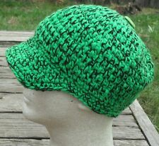 Cool Green/Black Larger Crocheted Beanie with a Visor - Handmade by Michaela