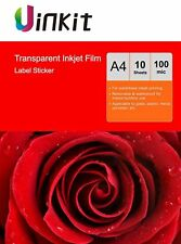 A4 Clear Self Adhesive Printable Stickers Film For Inkjet Printer - 10 Sheets
