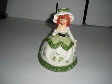 """Sankyo 7"""" Irish Girl Hand Painted Music Figurine with Shamrock Dress Beautiful"""