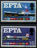 GB 1967 SG#715-6 EFTA Phosphor MNH Set #D49945