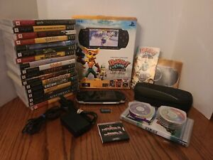 Sony PSP-3000 Black System w/27 Games, 4 Movies, Charger, Box, Case, & Mem Card