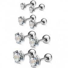 1 Lower Ear Bar Earrings Ring Stud Piercing Surgical Steel Labret Lip Clear Bars