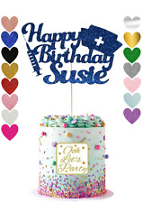 Birthday Glitter Cake Topper, Choose Your Name, Personalised, Premium, Nurse