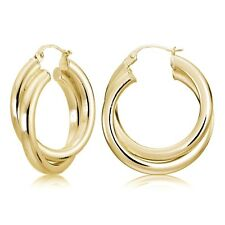 Gold Flash Silver Square-Tube 30mm Crossover Double Round Hoop Earrings