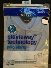 2 Pack M&S Age 14-15 Years School Blue Polo Shirts Regular Fit Stainaway