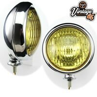 "Classic Car Vintage Style Stainless Steel Chrome 5"" Amber Fog Lights Lamps 12v"