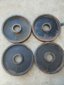 """Vintage Deep Dish 10LB 2"""" Olympic Weight Plates weights ben ? York used ivanko"""