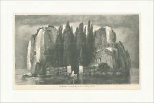 Die Toteninsel Arnold Böcklin Tor Bäume Felsen Boot Ruder See Holzstich E 4382