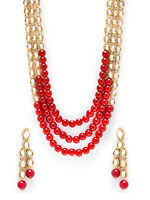 Indian Bollywood Wedding Red Pearl Kundan Necklace Earring Set Fashion Jewelry