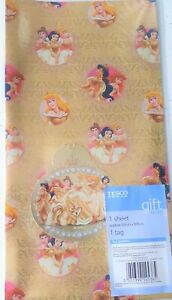 DISNEY • PRINCESS Christmas Wrapping Paper Gift • Wrap with Tag Gold Foil.