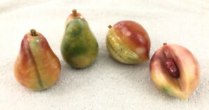 Alabaster Marble Stone Fruit Cut 2 Pear 2 Peach Pit on one Peach 4 pc Total