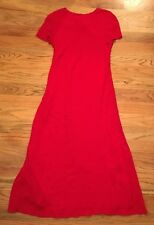 Donna Ricco New York Sz 10 Red Full Length Dress Short Sleeves High Neck USA