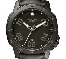 PRE-OWNED $250 Nixon Men's Black Leather Quartz Dress Classic Watch A508001