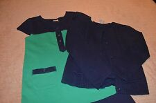 Gymboree Colorblock Dress Navy Blue and Green with Cardigan Size 6 OUTFIT