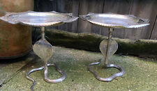 More details for antique vintage indian silver plated cobra cake stands engraved peacock tazzas